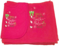 Christmas North Pole Baby Fleece Blanket and Bib Set